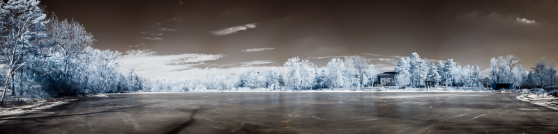 Mill Pond Winter Panorama in Infrared