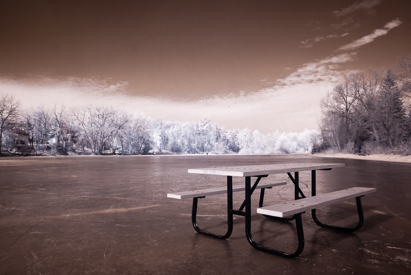 Picnic Table on Ice in Infrared